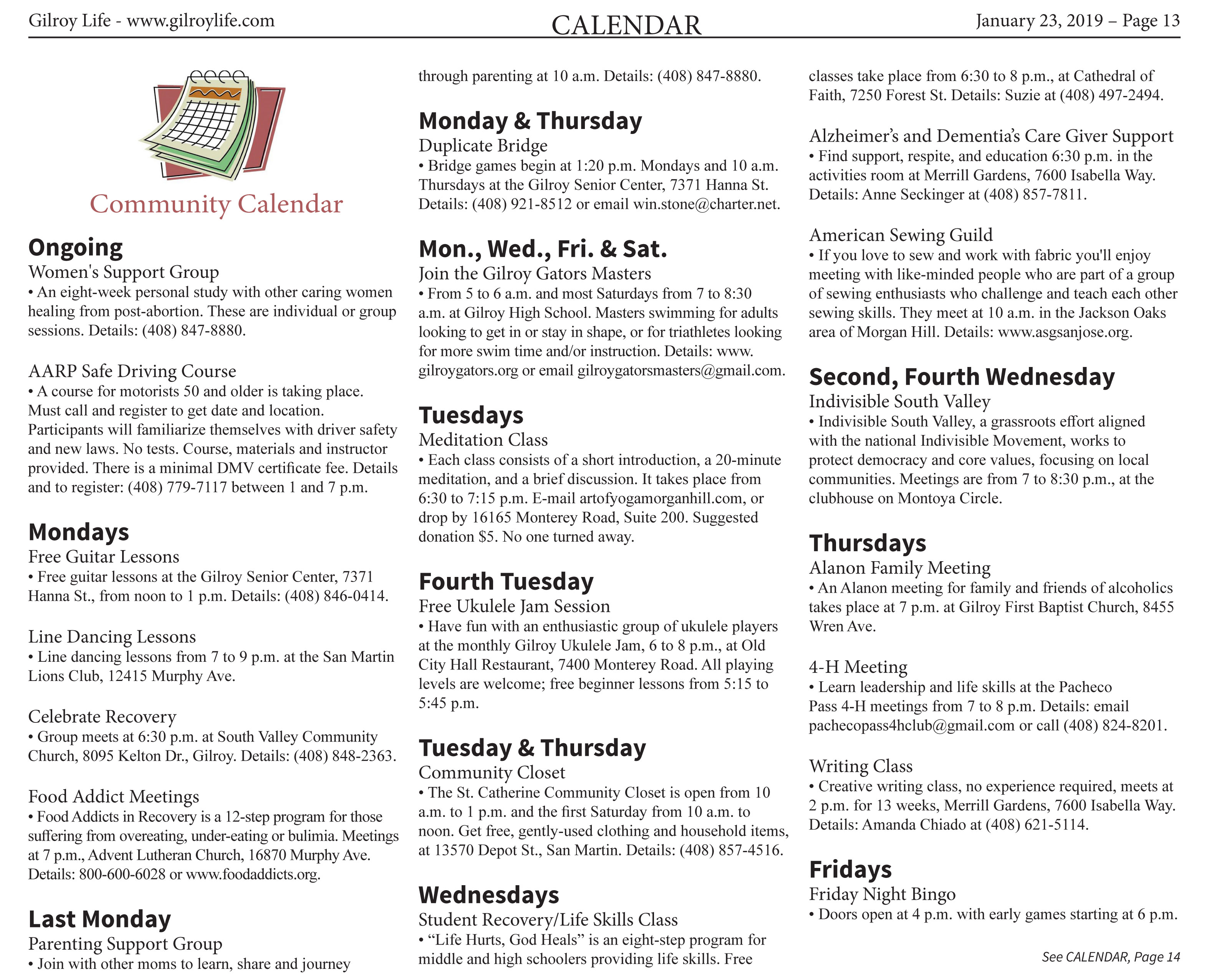Calendar of Events: Published in the January 23 – February 5