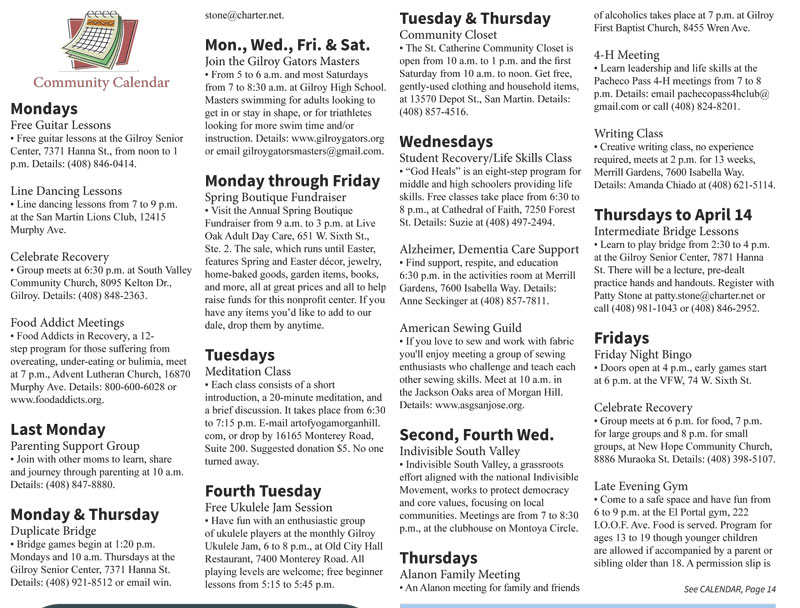 Calendar of Events: Published in the March 20 – April 2