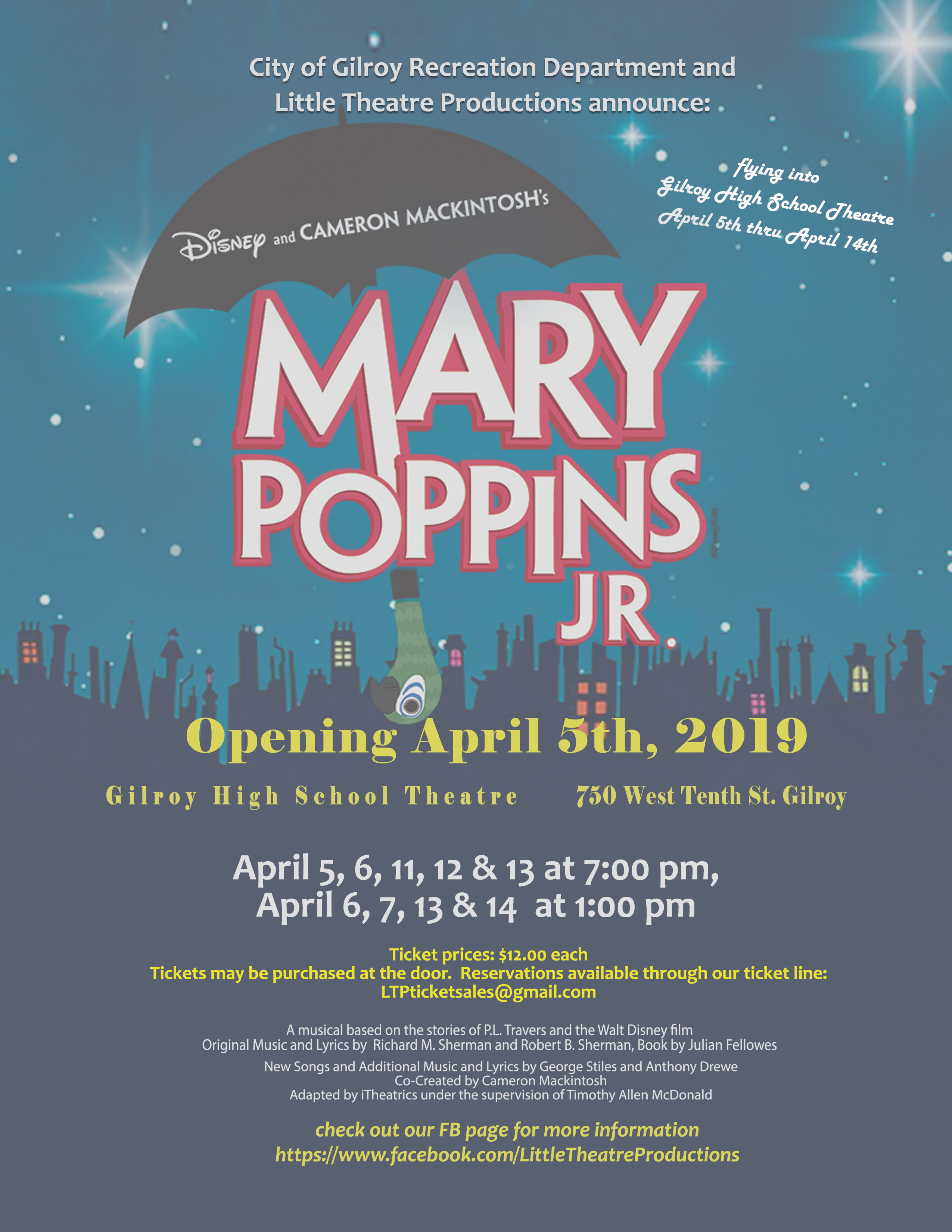 Mary Poppins Jr  at Gilroy High School Theater | Gilroy Life
